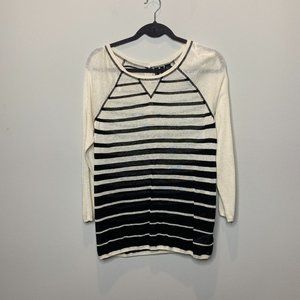 Cynthia Rowley Striped Linen Blend Sweater Size L